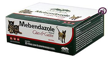 Imagem Mebendazole Oral Cães e Gatos (25 tiras de 6 comp - 150 comprimidos)