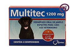 Imagem Multitec 1200mg Cães c/ 15kg 4 comp.