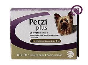 Imagem Petzi Plus 400mg Cães 5kg c/ 4 comprimidos