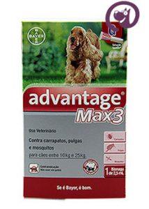 Imagem Advantage MAX 3 Pulgas e Carrapatos Cães 10 a 25kg