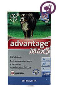 Imagem Advantage MAX 3 Pulgas e Carrapatos Cães acima 25kg