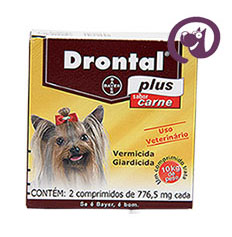 Imagem Drontal Plus Carne Cães 10kg 2 comp. vermífugo cães